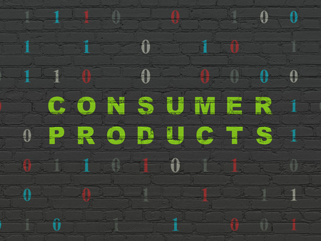 consumer products: Business concept: Painted green text Consumer Products on Black Brick wall background with Binary Code Stock Photo