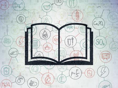 esquema: Concepto de la ciencia: Pintado icono libro negro sobre fondo de papel digital con el Esquema de dibujado a mano Iconos Ciencia