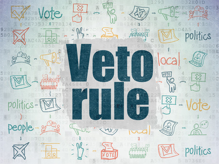 veto: Politics concept: Painted blue text Veto Rule on Digital Paper background with  Scheme Of Hand Drawn Politics Icons Stock Photo