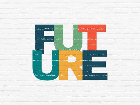 cronologia: Concepto de línea de tiempo: Pintadas futuro texto multicolor en el fondo blanco de la pared de ladrillo
