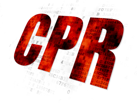cpr: Health concept: Pixelated red text CPR on Digital background