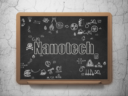 nanotech: Science concept: Chalk White text Nanotech on School Board background with Scheme Of Hand Drawn Science Icons Stock Photo