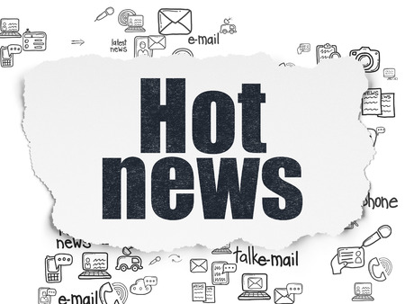 hot news: News concept: Painted black text Hot News on Torn Paper background with Scheme Of Hand Drawn News Icons
