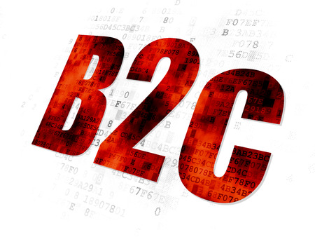 b2c: Business concept: Pixelated red text B2c on Digital background