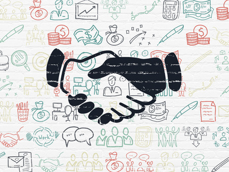 black handshake: Finance concept: Painted black Handshake icon on White Brick wall background with  Hand Drawn Business Icons Stock Photo