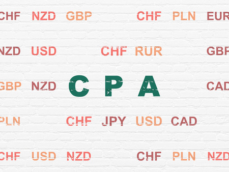 cpa: Business concept: Painted green text CPA on White Brick wall background with Currency Stock Photo