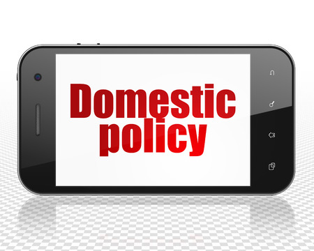 domestic policy: Politics concept: Smartphone with red text Domestic Policy on display
