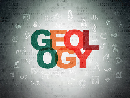 geology: Science concept: Painted multicolor text Geology on Digital Paper background with  Hand Drawn Science Icons