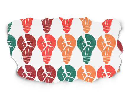 broken strategy: Business concept: Painted multicolor Light Bulb icons on Torn Paper background
