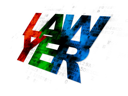 lex: Law concept: Pixelated multicolor text Lawyer on Digital background
