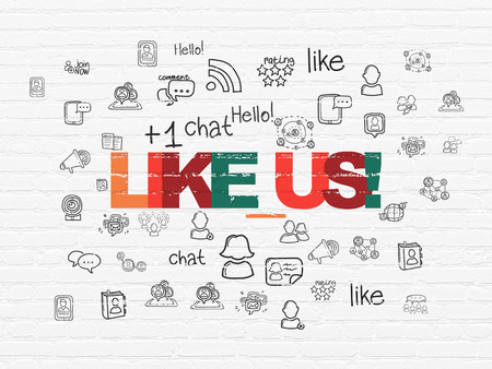 building a social network: Social network concept: Painted multicolor text Like us! on White Brick wall background with  Hand Drawn Social Network Icons Stock Photo