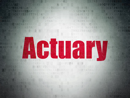 actuary: Insurance concept: Painted red word Actuary on Digital Paper background