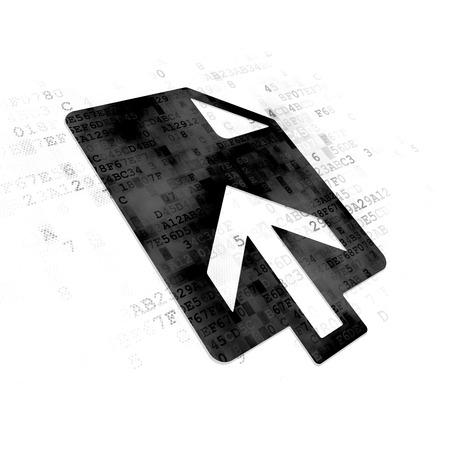 ftp servers: Web design concept: Pixelated black Upload icon on Digital background