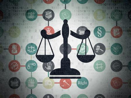 derecho penal: Concepto de la ley: Pintado Escalas icono negro sobre fondo de papel digital con el Esquema de dibujado a mano Iconos Derecho