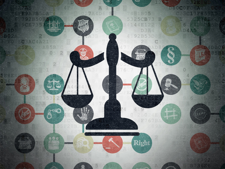 Law concept: Painted black Scales icon on Digital Paper background with Scheme Of Hand Drawn Law Icons Stock Photo