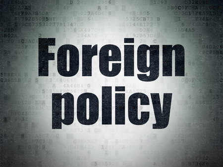 foreign policy: Political concept: Painted black word Foreign Policy on Digital Paper background Stock Photo