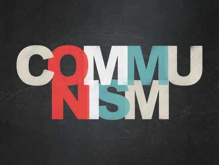 communists: Political concept: Painted multicolor text Communism on School Board background