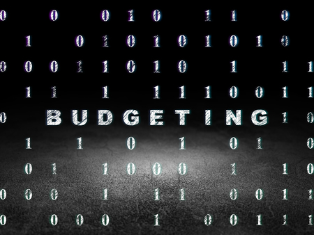 budgeting: Finance concept: Glowing text Budgeting in grunge dark room with Dirty Floor, black background with Binary Code