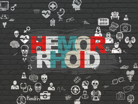hemorrhoid: Health concept: Painted multicolor text Hemorrhoid on Black Brick wall background with Scheme Of Hand Drawn Medicine Icons