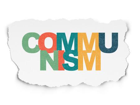 communists: Politics concept: Painted multicolor text Communism on Torn Paper background