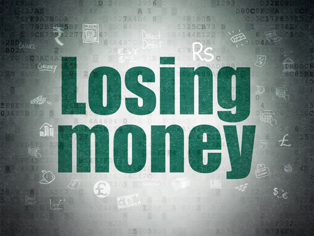 losing money: Money concept: Painted green text Losing Money on Digital Paper background with  Hand Drawn Finance Icons