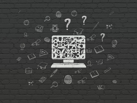 computer education: Learning concept: Painted white Computer Pc icon on Black Brick wall background with  Hand Drawn Education Icons