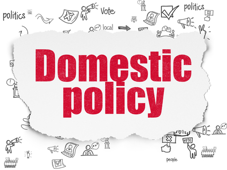 domestic policy: Politics concept: Painted red text Domestic Policy on Torn Paper background with Scheme Of Hand Drawn Politics Icons