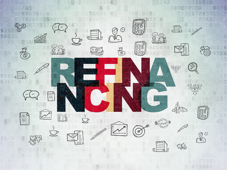 refinancing: Finance concept: Painted multicolor text Refinancing on Digital Paper background with  Hand Drawn Business Icons Foto de archivo