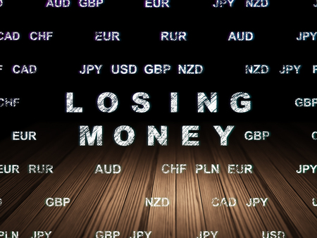 losing money: Banking concept: Glowing text Losing Money in grunge dark room with Wooden Floor, black background with Currency Stock Photo