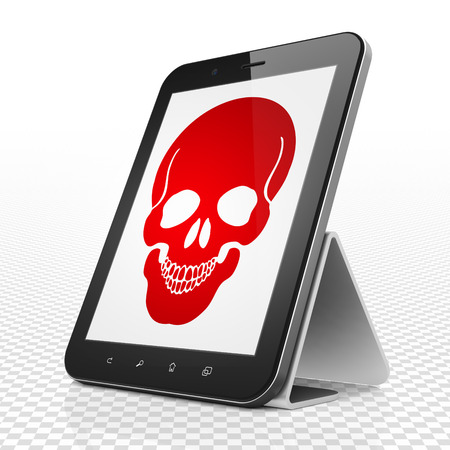 healing touch: Health concept: Tablet Computer with red Scull icon on display