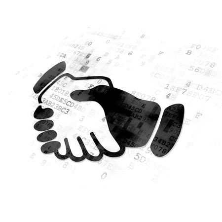 black handshake: Finance concept: Pixelated black Handshake icon on Digital background