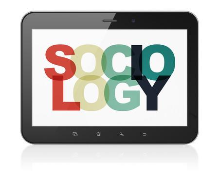 sociologia: Concepto de aprendizaje: la tableta de ordenador con el pintado Sociología texto multicolor en exhibición