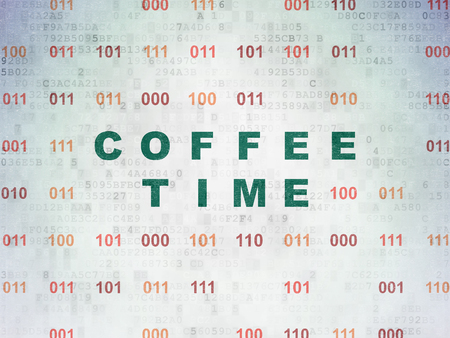 cronologia: Timeline concept: Painted green text Coffee Time on Digital Paper background with Binary Code Foto de archivo