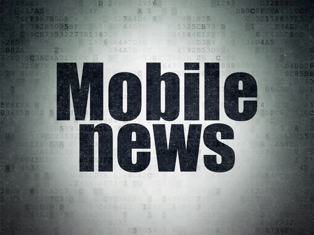 urgent announcement: News concept: Painted black word Mobile News on Digital Paper background
