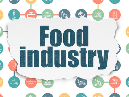 food industry: Industry concept: Painted blue text Food Industry on Torn Paper background with Scheme Of Hand Drawn Industry Icons Stock Photo