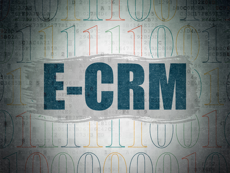 ecrm: Business concept: Painted blue text E-CRM on Digital Paper background with   Binary Code