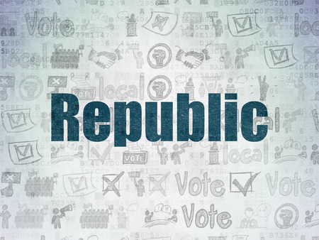 political system: Politics concept: Painted blue text Republic on Digital Paper background with   Hand Drawn Politics Icons