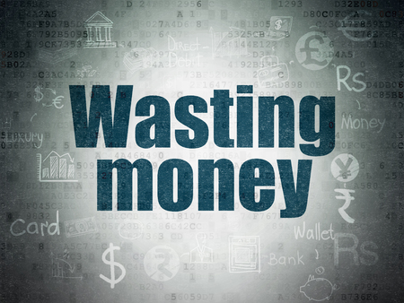 wasting: Money concept: Painted blue text Wasting Money on Digital Paper background with  Scheme Of Hand Drawn Finance Icons