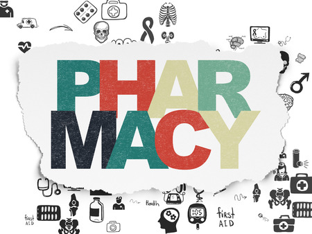 healing process: Health concept: Painted multicolor text Pharmacy on Torn Paper background with Scheme Of Hand Drawn Medicine Icons Stock Photo