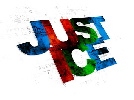 cyber defence: Law concept: Pixelated multicolor text Justice on Digital background