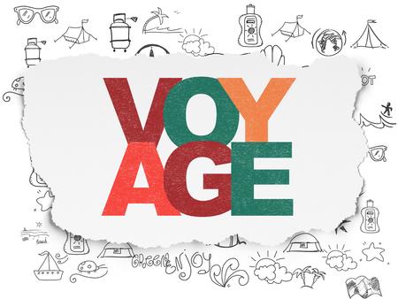 agencia de viajes: Concepto de las vacaciones: pintada multicolor texto Voyage en fondo de papel rasgado con dibujado a mano iconos de vacaciones