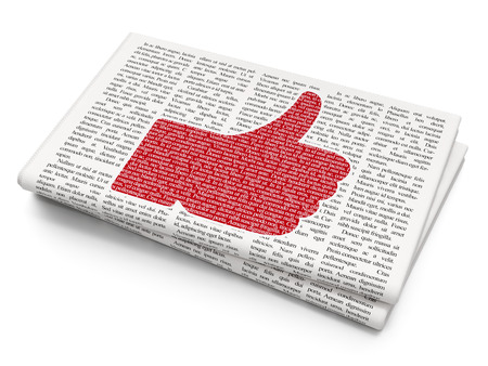 confirmed: Social media concept: Pixelated red Thumb Up icon on Newspaper background