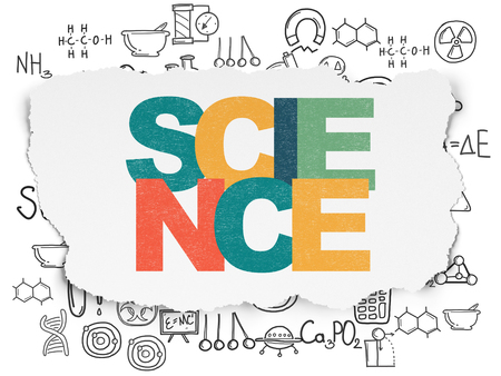 science text: Science concept: Painted multicolor text Science on Torn Paper background with  Hand Drawn Science Icons