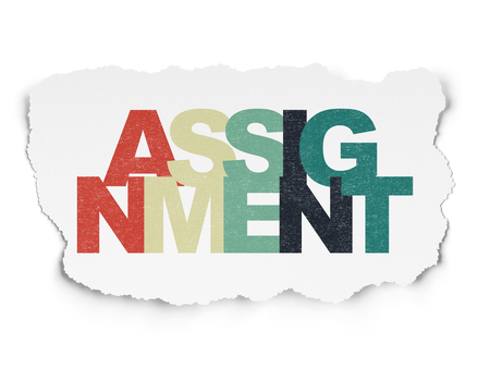 assignment: Law concept: Painted multicolor text Assignment on Torn Paper background
