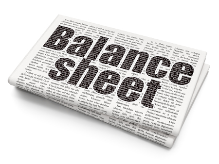 news values: Currency concept: Pixelated black text Balance Sheet on Newspaper background Stock Photo