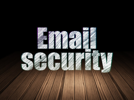 email security: Safety concept: Glowing text Email Security in grunge dark room with Wooden Floor, black background