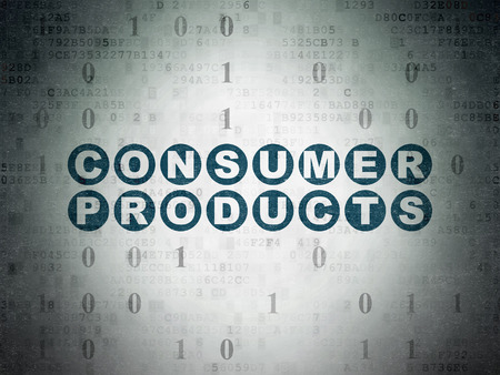 consumer products: Business concept: Painted blue text Consumer Products on Digital Paper background with Binary Code