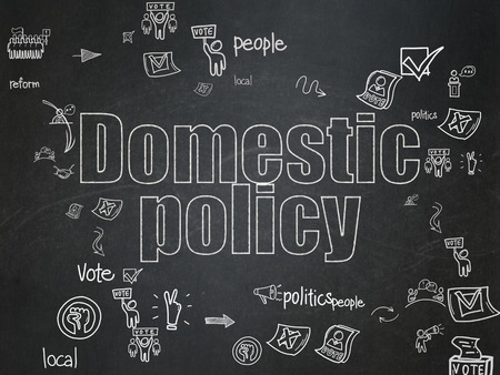 domestic policy: Political concept: Chalk White text Domestic Policy on School Board background with Scheme Of Hand Drawn Politics Icons Stock Photo