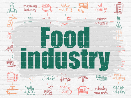 food industry: Manufacuring concept: Painted green text Food Industry on White Brick wall background with Scheme Of Hand Drawn Industry Icons