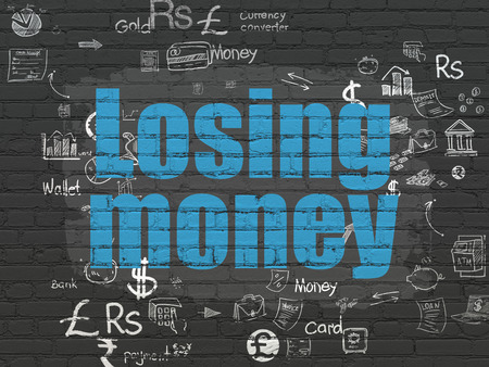 losing money: Banking concept: Painted blue text Losing Money on Black Brick wall background with Scheme Of Hand Drawn Finance Icons